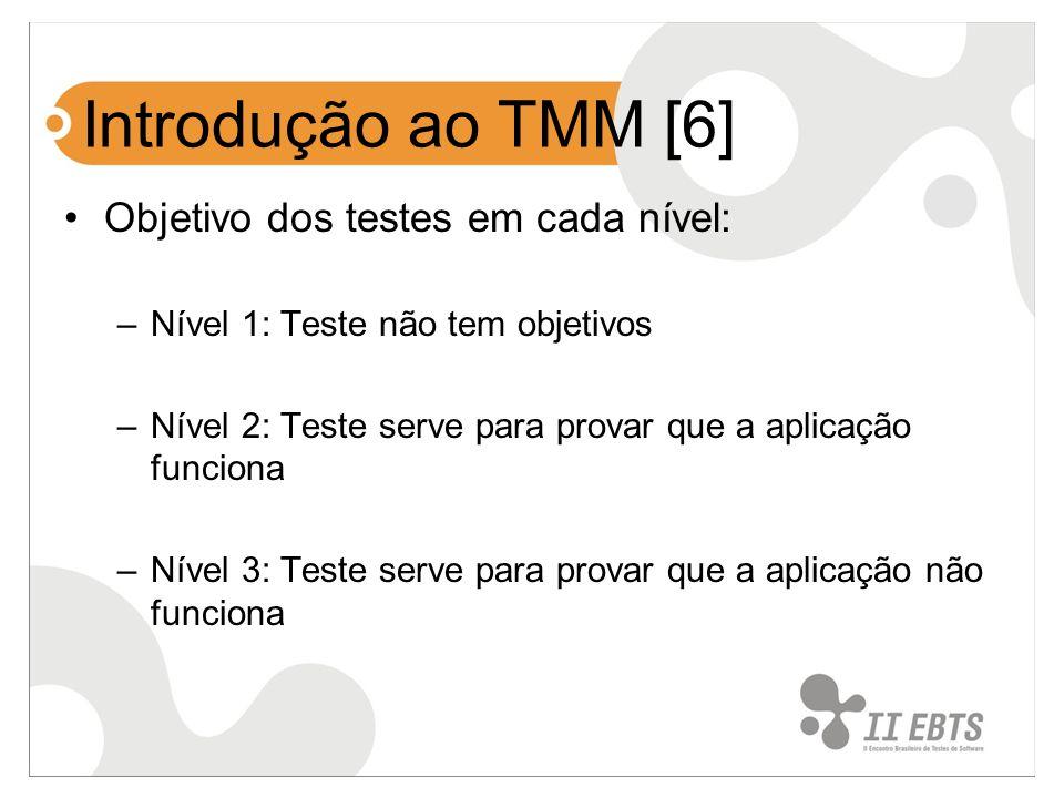 Introdução ao TMM [6] Objetivo dos testes em cada nível: